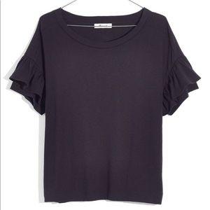 MADEWELL | black ruffle sleeve t shirt